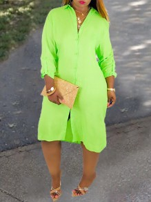 Neon Green Turndown Collar Single Breasted Double Slit Backless Casual Midi Dress