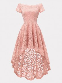 Pink Patchwork Lace Off Shoulder Short Sleeve High-low Midi Dress