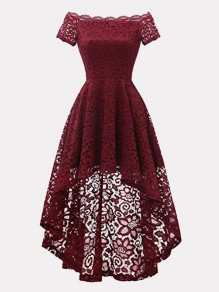 Wine Red Patchwork Lace Off Shoulder Short Sleeve High-low Midi Dress
