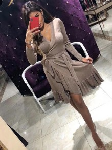 Khaki Bright Wire Flounce Asymmetric Shoulder Pleated Mini Dress