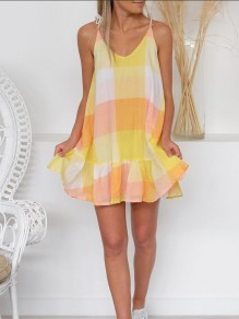 Yellow-Pink Color Block Casual Sweet Spaghetti Strap Mini Dress