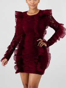 Burgundy Patchwork Lace Cascading Ruffle Bodycon Round Neck Long Sleeve Party Mini Dress