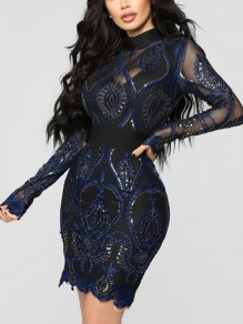Navy Blue Patchwork Lace Sequin Bodycon Long Sleeve Sparkly Glitter Birthday Party Mini Dress