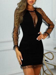 Black Patchwork Grenadine Ruffle Beading Bodycon Clubwear Party Mini Dress