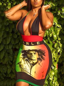 Black Bob Marley Grenadine Halter Neck Bodycon Backless Deep V-neck Party Clubwear Mini Dress