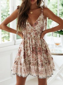Champagne Floral Print V-neck Backless Strap Going out Summer Ladies Casual Mini Dress