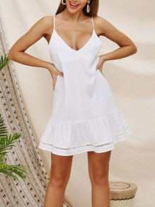 White Draped Deep V-neck Spaghetti Strap Mesh Going out Ladies Mini Dress