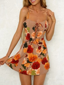 Apricot Floral Print Spaghetti Strap Off Shoulder Backless Homecoming Party Mini Dress