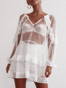 White Patchwork Lace Mesh Grenadine Sheer Layers Of Ruffle Flowy V-neck Party Mini Dress