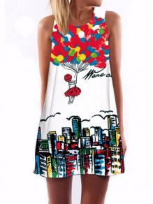 White Colorful City Print Round Neck Sleeveless Loose Fashion Casual Mini Dress