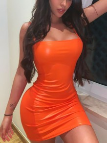Orange Spaghetti Strap Bodycon PU Leather Latex Vinly Party Clubwaer Mini Dress