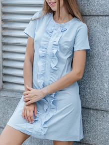 Light Blue Patchwork Ruffle Round Neck Elegant Mini Dress