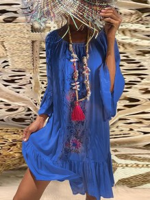 Blue Floral Draped Bodycon Off Shoulder Dolman Sleeve Going out Mini Dress