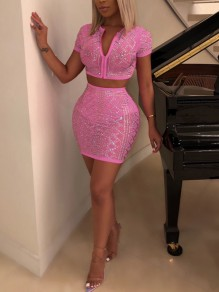 Pink Patchwork Rhinestone Zipper Two Piece Bodycon V-neck Sparkly Glitter Birthday Party Mini Dress