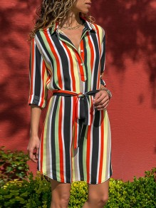 Red-White Striped Single Breasted Colorful Sashes Fashion Casual Blouses Mini Dress