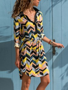 Yellow-White Striped Wave Single Breasted Colorful Sashes Fashion Casual Blouses Mini Dress