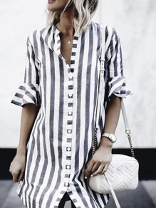 Grey-White Striped Single Breasted V-neck Elbow Sleeve Casual Blouses Mini Dress