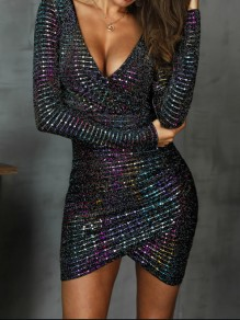 Black Patchwork Sequin Bodycon V-neck High-Low Sparkly Glitter Birthday Party Mini Dress