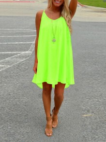Yellow Patchwork Cut Out Condole Belt Sleeveless Going out Mini Dress