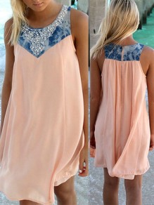 Pink-Blue Patchwork Print Going out Comfy Fashion One Piece mini dress