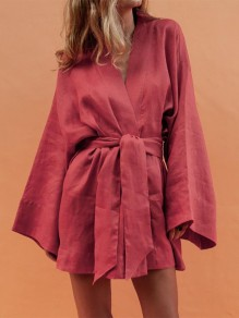 Red Sashes V-neck Long Sleeve Going out Mini Dress