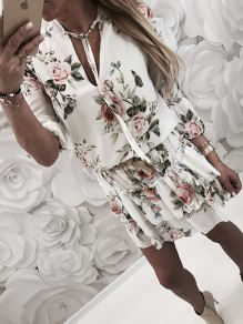 White Flora Cut Out Ruffle Bodycon Comfy V-neck Going out Mini Dress
