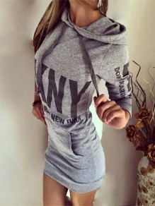 Grey Floral Monogram Pockets Bodycon Lace-up Long Sleeve Going out Mini Dress