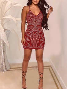 Red Geometric Rhinestone Shoulder-Strap V-neck Sheer Hip Bodycon Clubwear Glitter Sparkly Birthday Party Mini Dress