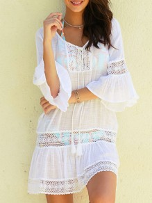 White Patchwork Lace Cut Out Tassel Lace-up Flare Sleeve V-neck Bohemian Beach Mini Dress