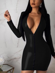 Black Zipper PU Leather Vinyl V-neck Long Sleeve Hip Bodycon Clubwear Mini Dress