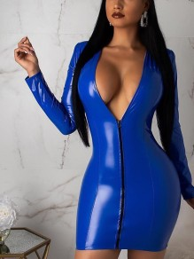 Blue Zipper PU Leather Vinyl V-neck Long Sleeve Hip Bodycon Clubwear Mini Dress