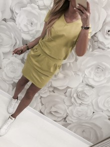 Yellow Pockets Buttons V-neck Short Sleeve Fashion Mini Dress