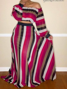 Rose Carmine Striped Print Big Swing Off Shoulder Fashion Two-Piece Dress