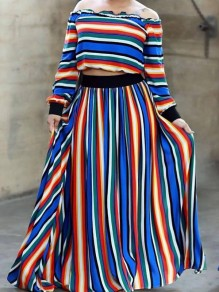 Blue Striped Print Big Swing Off Shoulder Fashion Two-Piece Dress