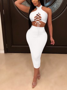 White Halter Neck Backless Lace Up Bodycon Club Two-Piece Dress