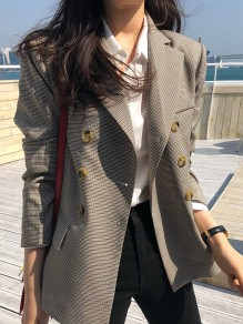 Grey-Coffee Plaid Pockets Double Breasted Tailored Collar Long Sleeve Fashion Suit