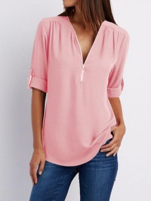 Pink Zipper Bodycon Chiffon Elbow Sleeve V-neck Going out Blouse