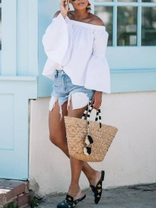 White Off Shoulder Backless Bell Sleeve Cute Party Blouse