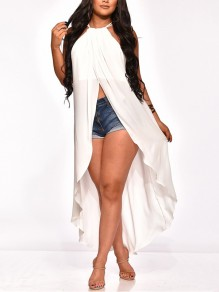 White Halter Neck Pleated Irregular High-Low Front Slit Party Blouse
