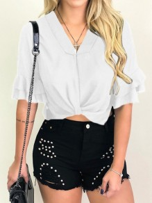 White Ruffle Ruched V-neck Short Sleeve Going out Crop Blouse