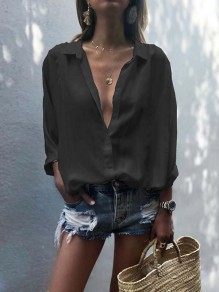 Black Buttons Chiffon Bodycon Deep V-neck Long Sleeve Going out Blouse
