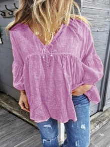 Purple Pleated Bodycon Comfy Long Sleeve V-neck Going out Blouse