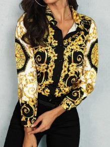 Yellow Floral Single Breasted Turndown Collar Long Sleeve Blouse