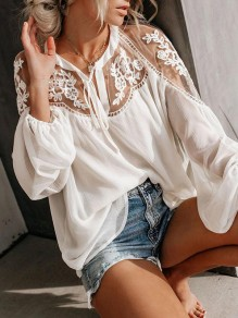 White Splicing Lace Going out Comfy Puff Sleeve Flowy Long Sleeve Blouse