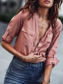 Pink Patchwork Zipper Pockets V-neck Fashion Blouse