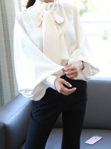 White Bow High Neck Lantern Sleeve Going out Blouse