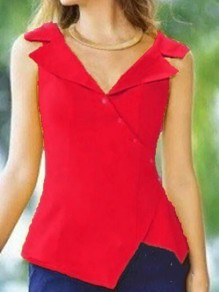 Red Irregular Single Breasted Tailored Collar Sleeveless Fashion Vest Blouse