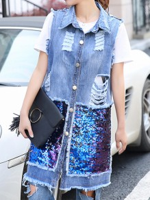 Blue Patchwork Sequin Pockets Cut Out Turndown Collar Fashion Jeans Outerwear
