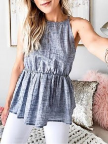 Grey Draped Drawstring Halter Neck Bodycon Going out T-Shirt