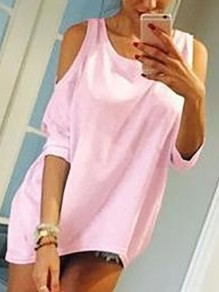 Pink Cut Out Off-Shoulder Bodycon 3/4 Sleeve Round Neck Going out T-Shirt
